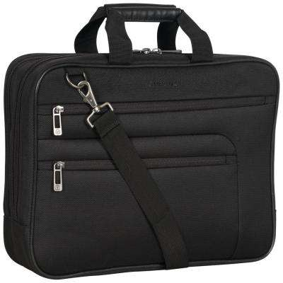Black - Multi-Pocket 1680D Polyester Dual Compartment 17in Laptop Case/ Business Computer Portfolio