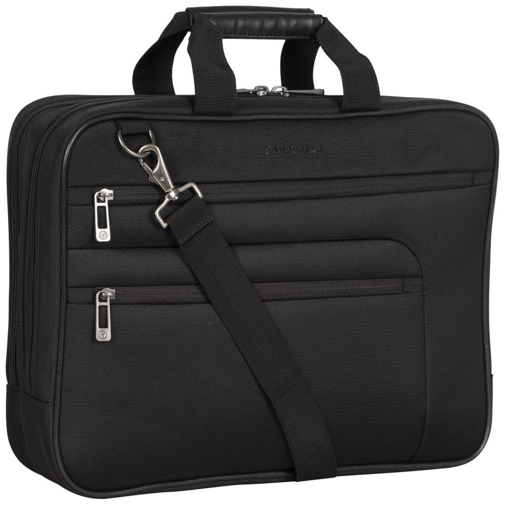 Heritage Black Multi Pocket 1680d Polyester Dual Compartment 17in Laptop Case Business Computer