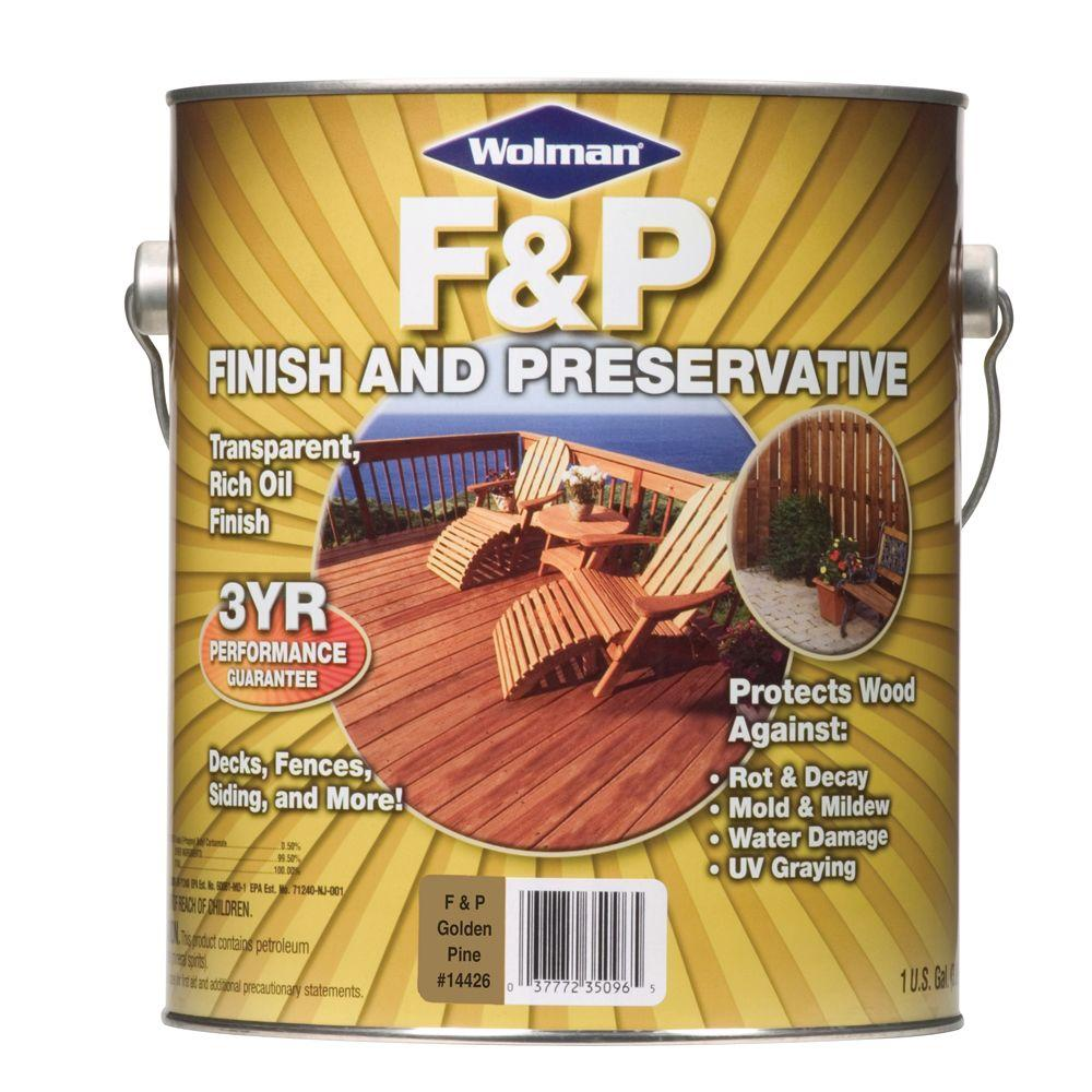 F&P Finish & Preservative 1-gal. Oil-Based Golden Pine Deep-Penetrating Transparent Exterior Wood Stain-DISCONTINUED