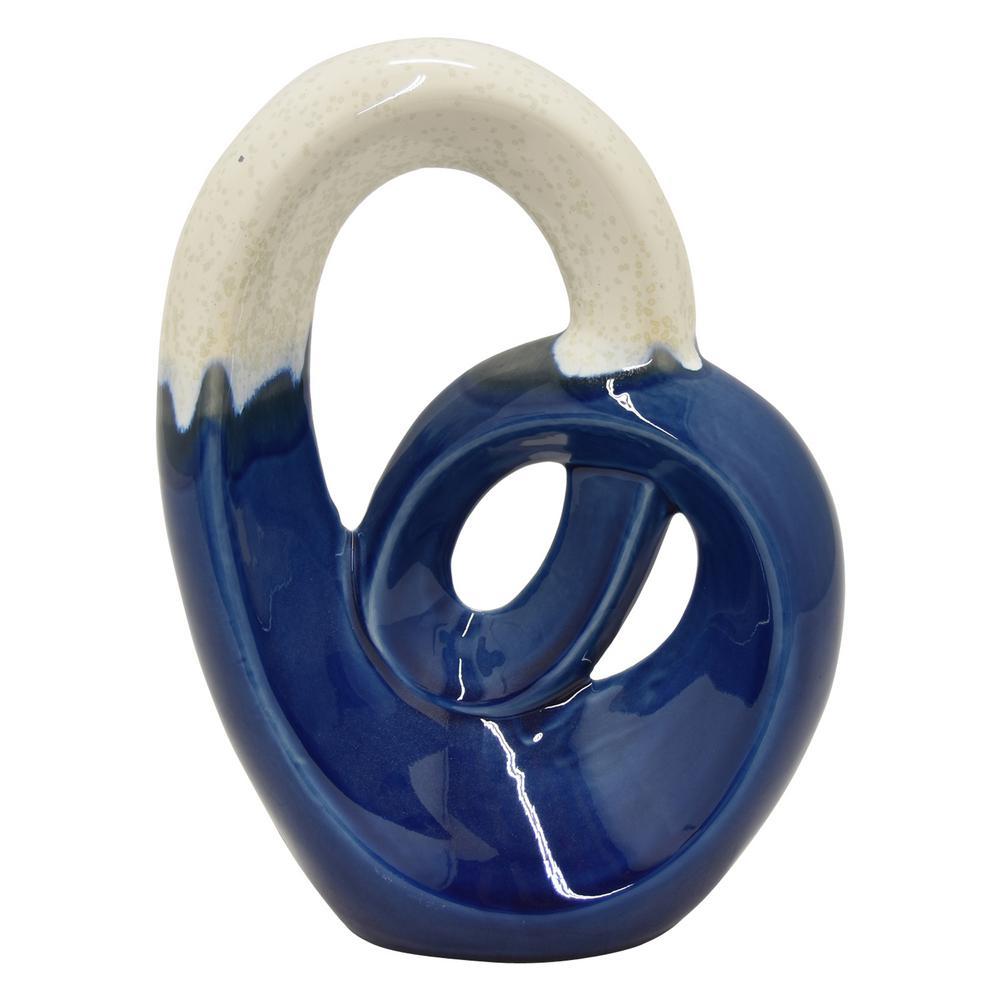 Porcelain Ceramic Sculpture Finished In Blue