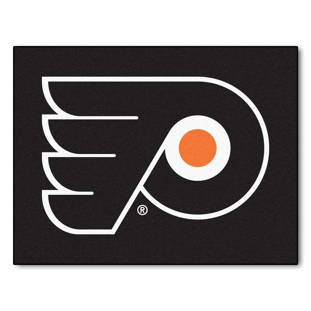 FANMATS NHL Philadelphia Flyers Black 2 ft. 10 in. x 3 ft. 9 in. Indoor All Star Accent Rug