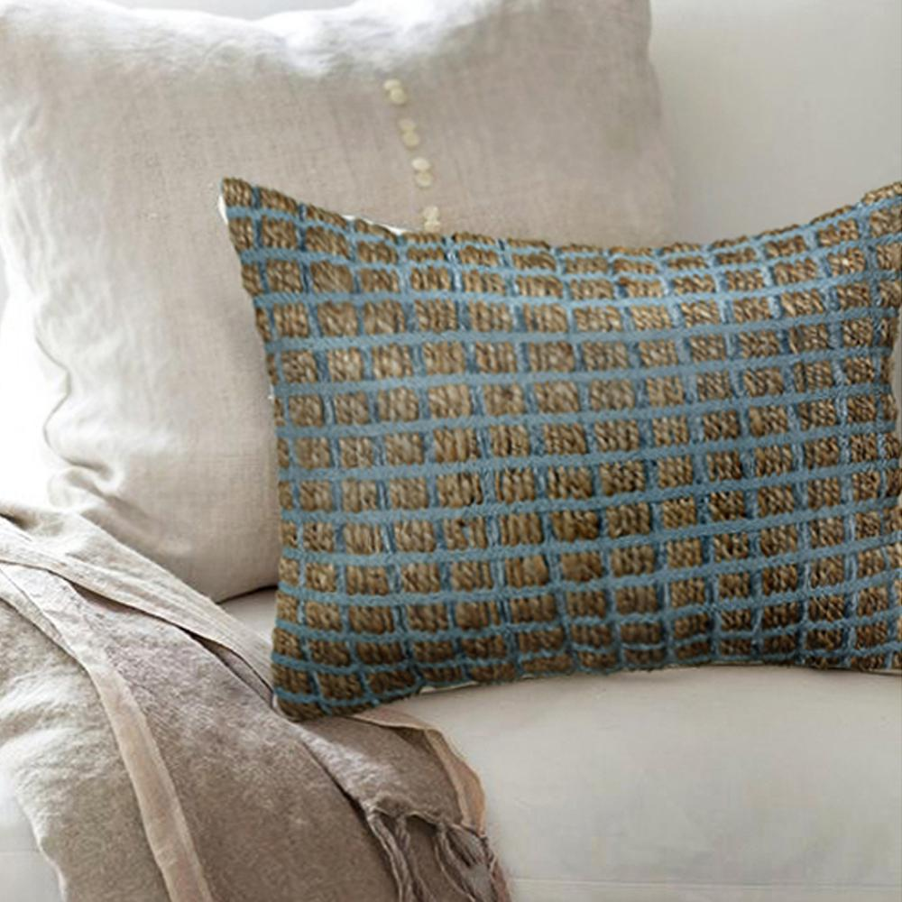 Contemporary Decorative Pillows: LR Resources Contemporary 16 In. X 24 In. Blue Rectangle