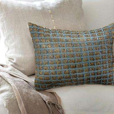 Contemporary 16 in. x 24 in. Blue Rectangle Decorative Indoor Accent Pillow