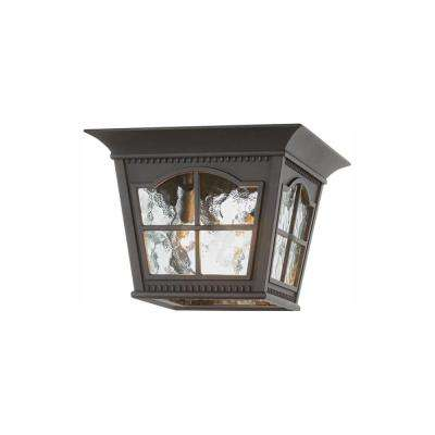 Square Black 3-Light Outdoor Flush Mount