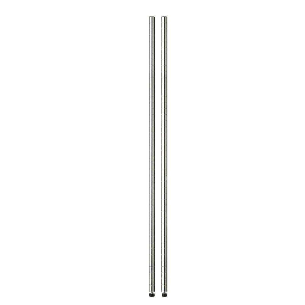 Chrome 48 in. Pole with Leg Levelers (2-Pack)