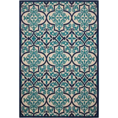 Aloha Navy 10 ft. x 13 ft. Moroccan Bohemian Indoor/Outdoor Area Rug