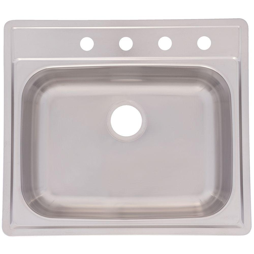 Franke Drop-In Stainless Steel 25x22x8 4-Hole Single Bowl Kitchen Sink