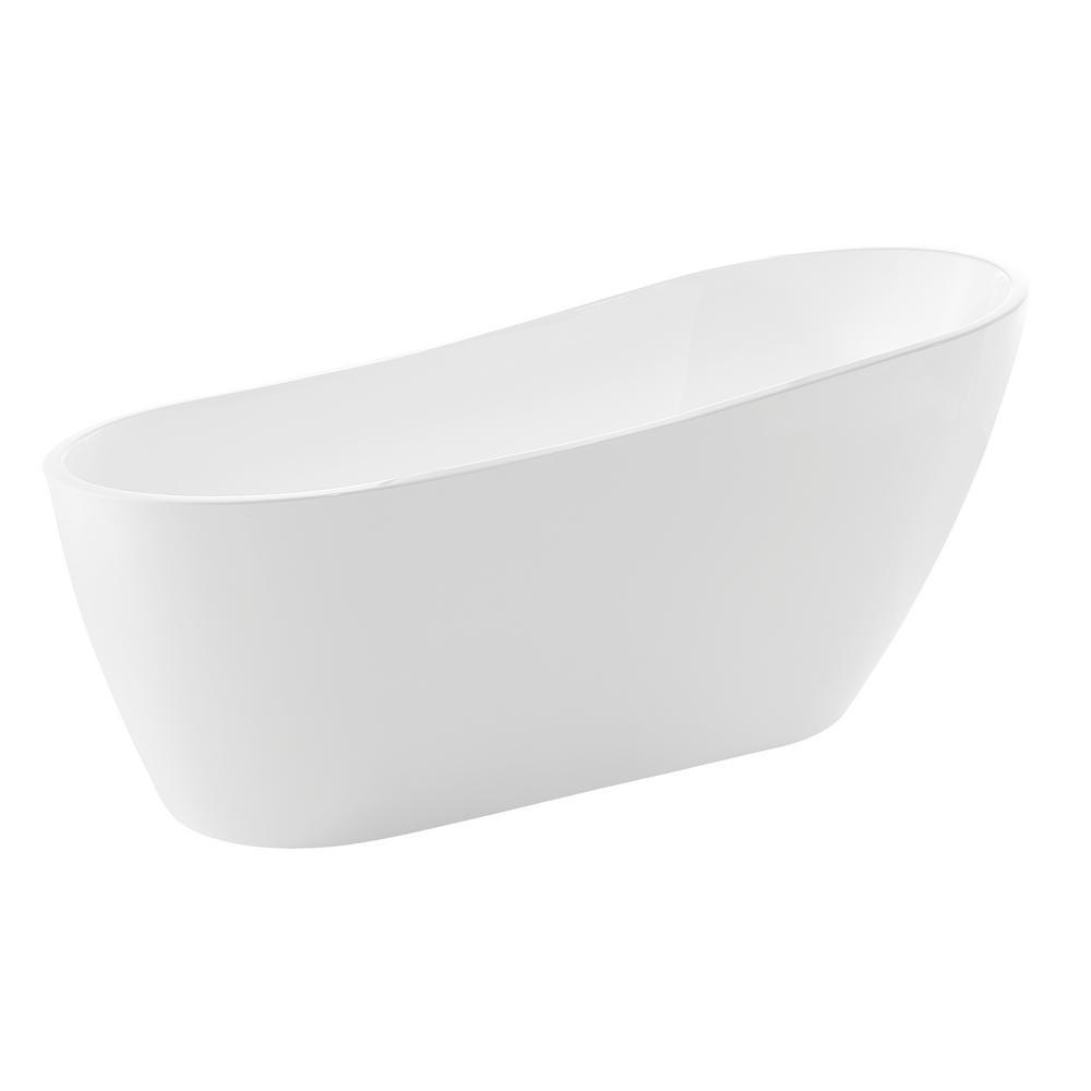 ANZZI Trend 5.58 ft. Acrylic Flatbottom Non-Whirlpool Bathtub in White