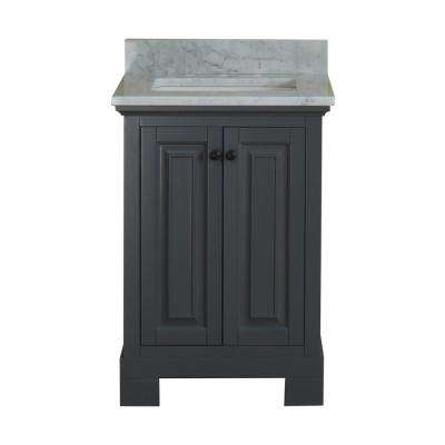 Richmond 24 in. W x 22 in. D Vanity in Gray with Marble Vanity Top in White with White Basin and Mirror