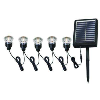 5-Light Black LED String with Remote Panel for Solar Deck, Dock and Path Light