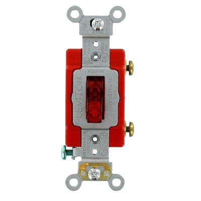 20 Amp Industrial Grade Heavy Duty Single-Pole Lighted Handle Toggle Switch, Red