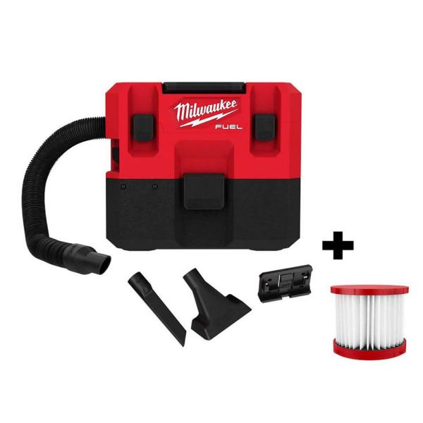 M12 FUEL 12-Volt Lithium-Ion Cordless 1.6 Gal. Wet/Dry Vacuum (Tool-Only) and Extra Filter