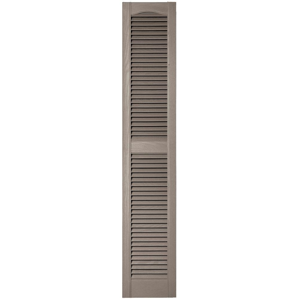Builders Edge 12 In X 64 In Louvered Vinyl Exterior Shutters Pair In 008 Clay 010120064008