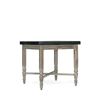 Saylor Square Aluminum Natural Stone Top Outdoor Side Table