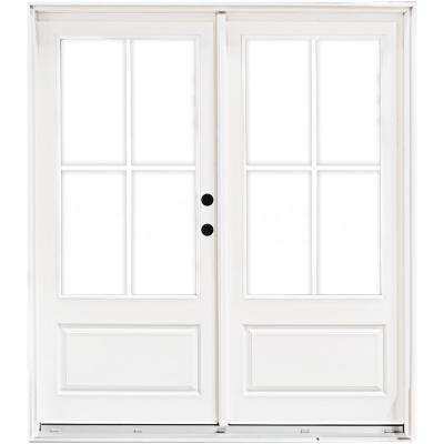 60 in. x 80 in. Fiberglass Smooth White Left-Hand Inswing Hinged 3/4-Lite Patio Door with 4-Lite GBG