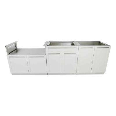 Stainless Steel 3-Piece 104x35x22.5 in. Outdoor Kitchen Cabinet Set with Powder Coated Doors in White