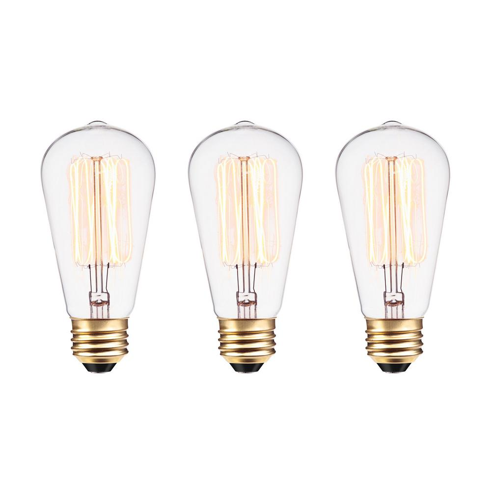 globe electric 60w vintage edison s60 squirrel cage filament light bulb 3pack