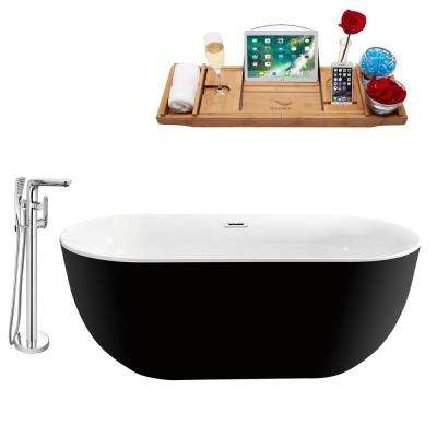 Tub, Faucet and Tray Set 67 in. Acrylic Flatbottom Non-Whirlpool Bathtub in Glossy Black