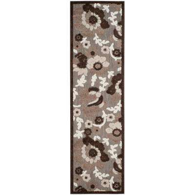 Cottage Light Brown/Brown 2 ft. x 8 ft. Indoor/Outdoor Runner Rug