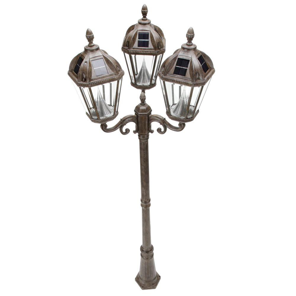 Gama Sonic Royal 3-Head Solar Weathered Bronze Outdoor Lamp Post