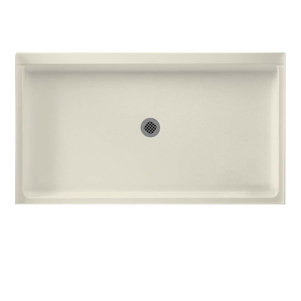 Swan 34 in. x 60 in. Solid Surface Single Threshold Shower Floor in Bone