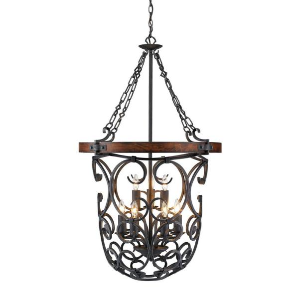 Madera 9-Light Black Iron Foyer Pendant