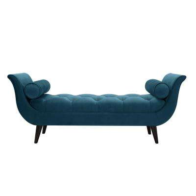 Alma Satin Teal Tufted Entryway Bench