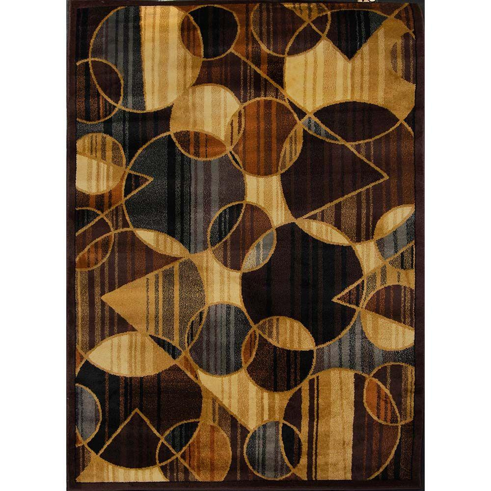 Home Dynamix Royalty Brown Blue 5 Ft X 7 Indoor Area Rug