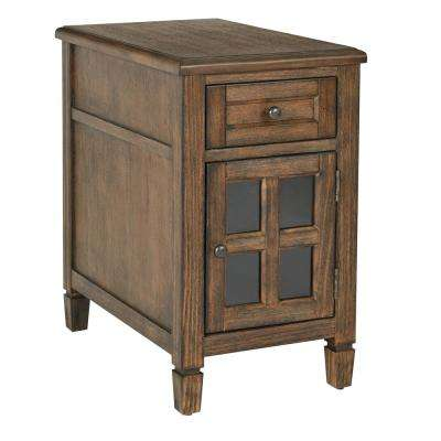 Drayton Brushed Java Side Table with Power