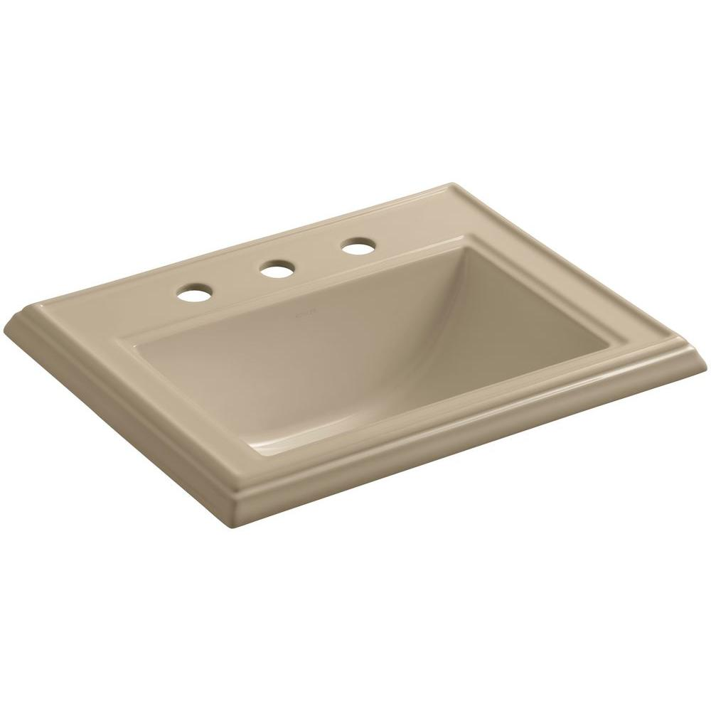 Memoirs Drop-In Vitreous China Bathroom Sink in Mexican Sand with Overflow