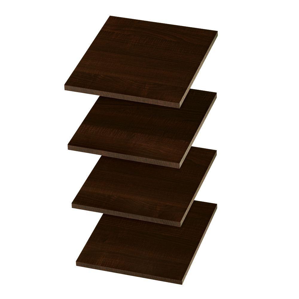 14 in. D x 12 in. W Espresso Wood Shelf (4-Pack)