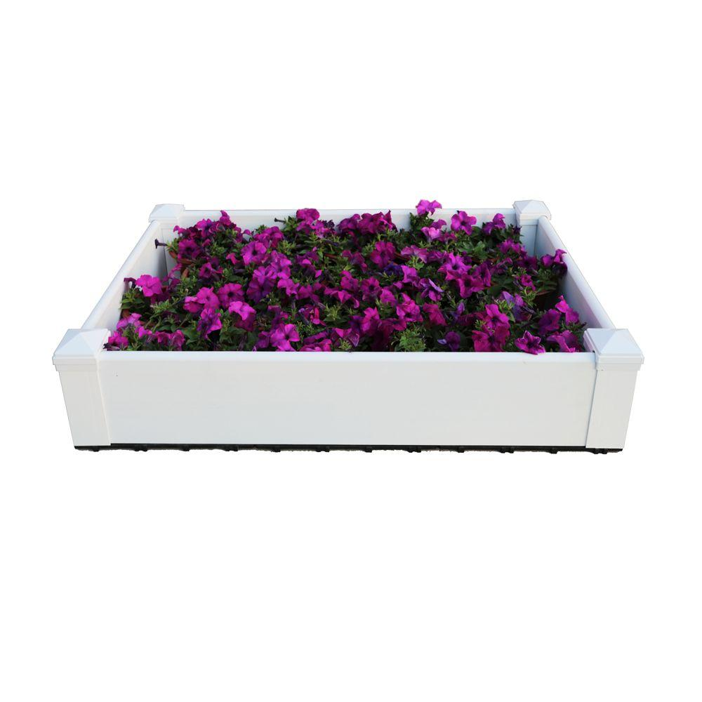 Composite Lumber Patio Raised Garden Bed Kit In Hyams White DAF PB 2X3 W    The Home Depot
