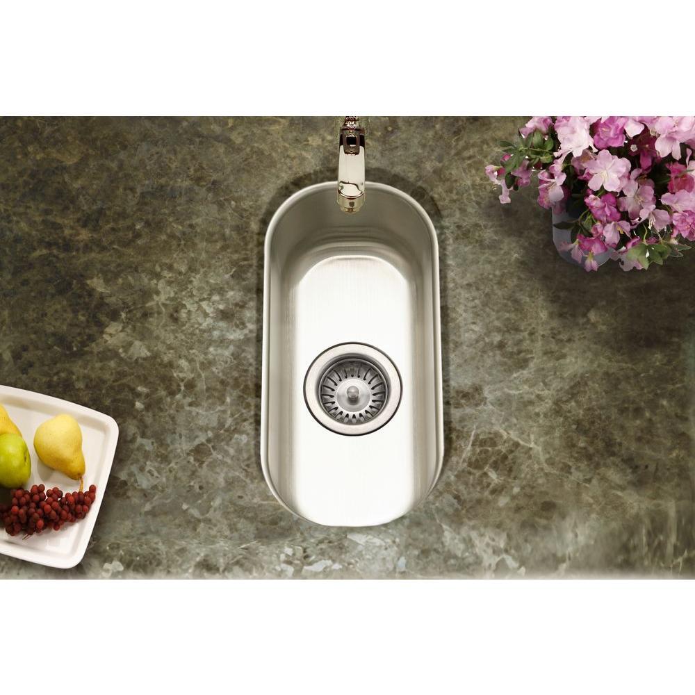 Single Basin Sink Undermount Compact Bar Stainless Steel Flat Bottom 9 In Ebay
