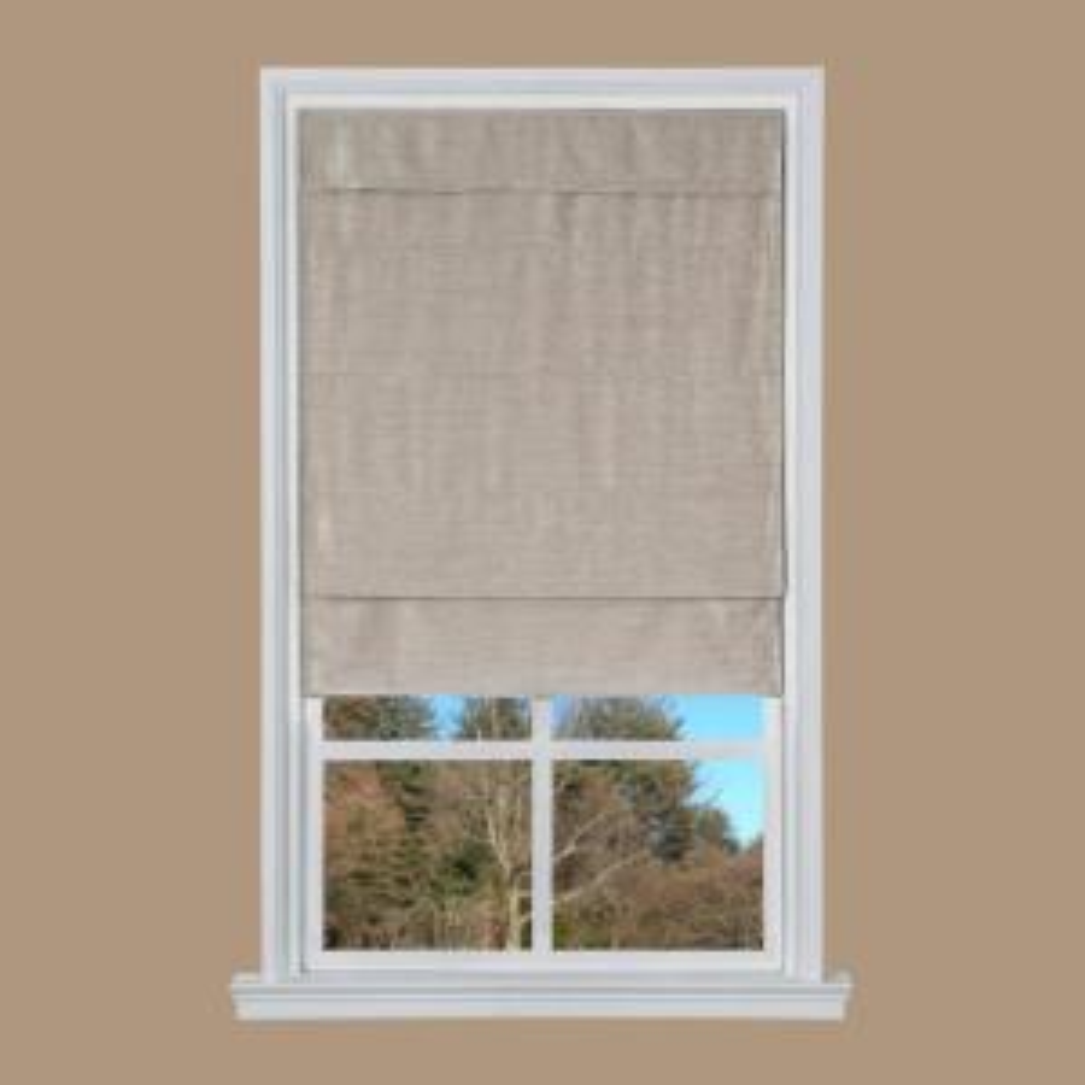 dark tan velveteen cordless roman shade 35 in w x 64 in l nfvc3564 the home depot. Black Bedroom Furniture Sets. Home Design Ideas