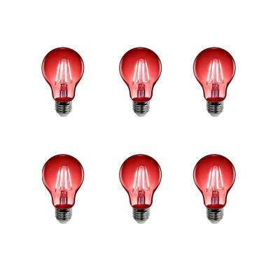 25-Watt Equivalent A19 Medium E26 Base Dimmable Filament LED Light Bulb Red Colored Clear Glass (6-Pack)