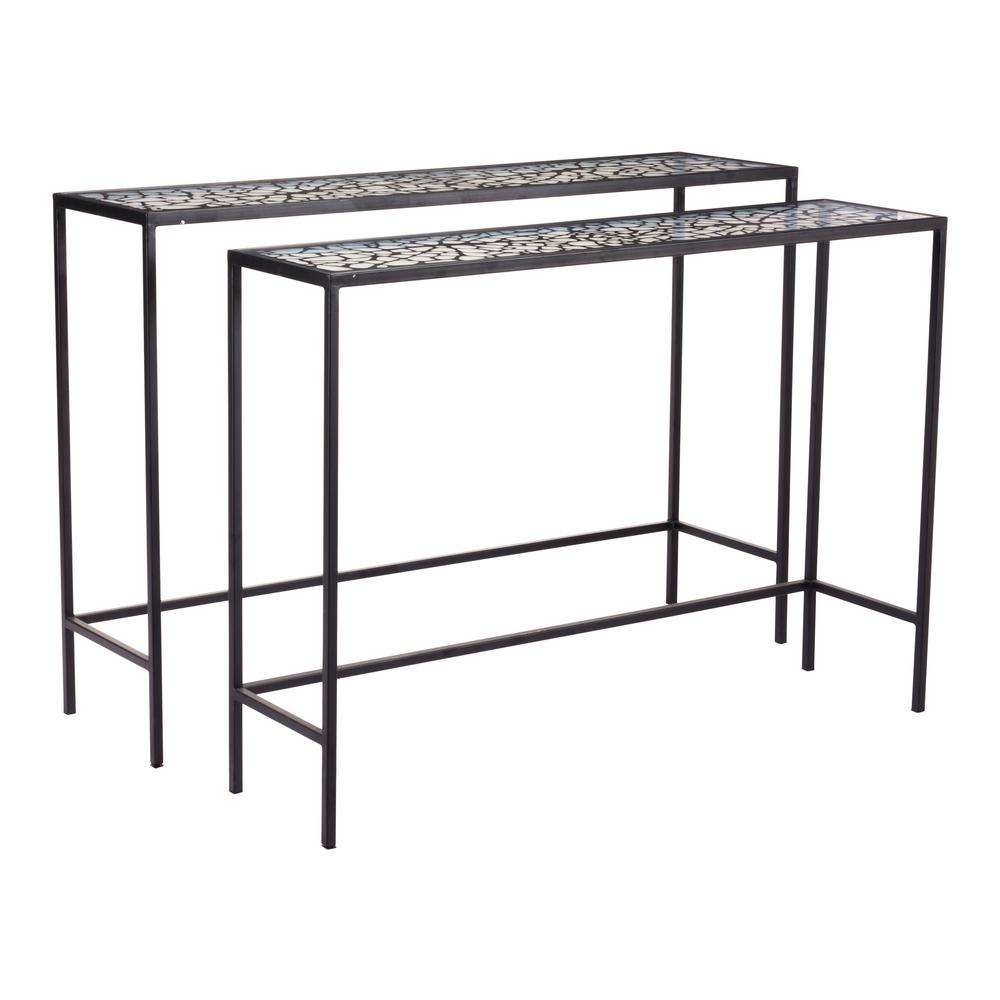 ZUO Web Black Console Tables (Set of 2)  sc 1 st  The Home Depot & ZUO Web Black Console Tables (Set of 2)-A10739 - The Home Depot