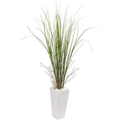 Indoor Bamboo Grass Artificial Plant in White Tower Ceramic