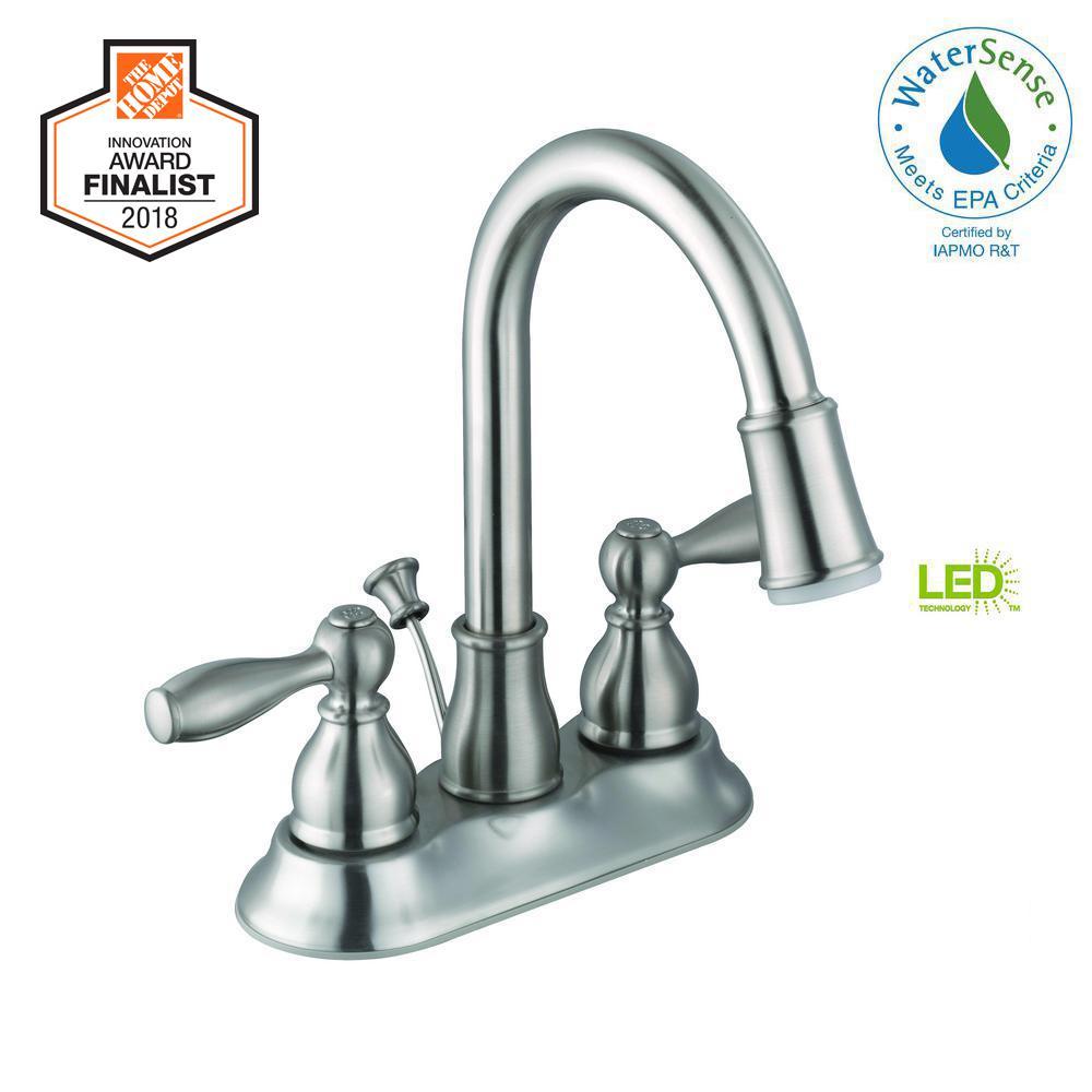 Glacier Bay Mandouri 4 in. Centerset 2-Handle LED High-Arc Bathroom Faucet in Brushed Nickel