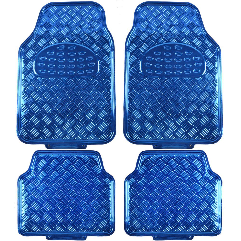 Metallic Vinyl MT-641 Blue Heavy Duty 4-Piece Car Floor Mats