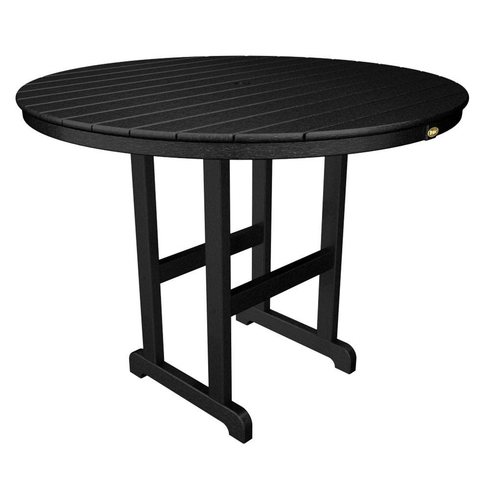 Monterey Bay 48 in. Charcoal Black Round Patio Counter Table