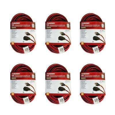 100 ft. 16/3 Medium-Duty Indoor/Outdoor Extension Cord, Red and Black (6-Pack)