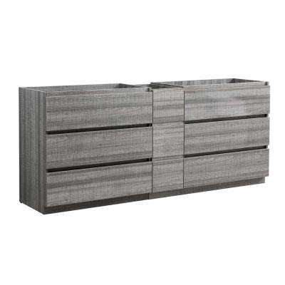 Lazzaro 84 in. Modern Double Bath Vanity Cabinet Only in Glossy Ash Gray