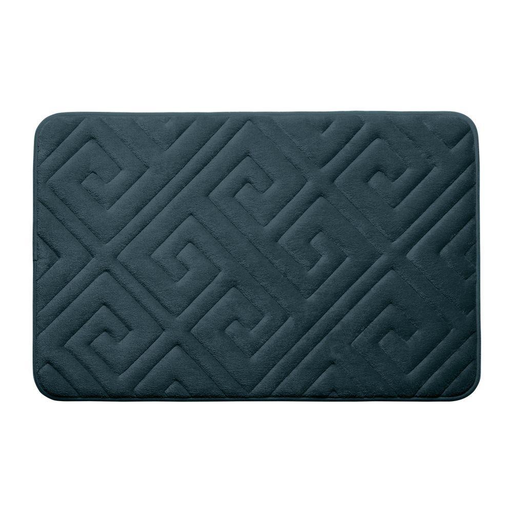 BounceComfort Caicos Slate Teal 17 In. X 24 In. Memory Foam Bath Mat-YMB003629