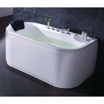 59 in. Acrylic Flatbottom Bathtub in White