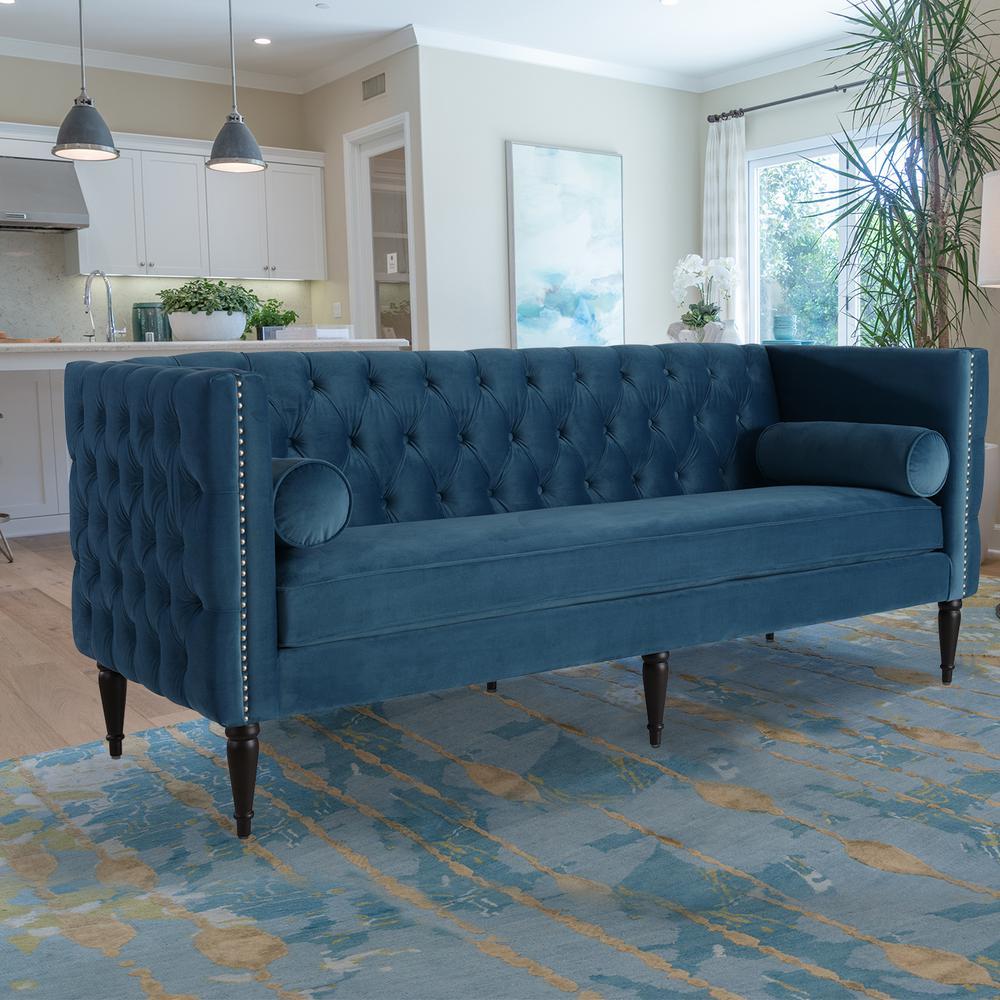 Swell Jennifer Taylor Home Diane Satin Teal Button Tufted Tuxedo Machost Co Dining Chair Design Ideas Machostcouk
