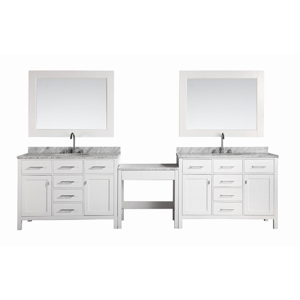 Design Element Two London 48 In W X 22 D Vanity White With Marble Top Carrara Mirror And Makeup Table
