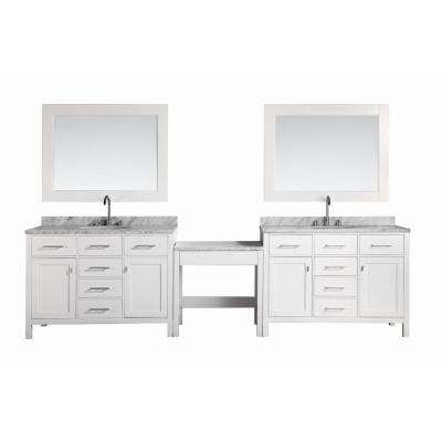Two London 48 in. W x 22 in. D Vanity in White with Marble Vanity Top in Carrara White, Mirror and Makeup Table