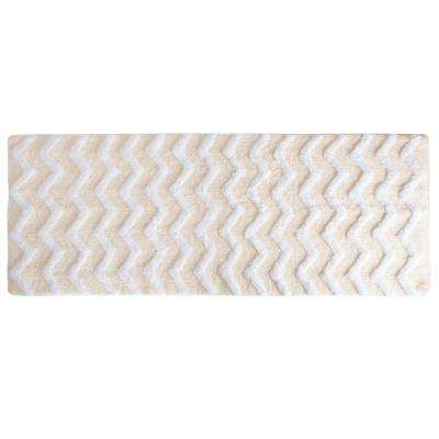 Chevron Bone 24 in. x 60 in. Bathroom Mat