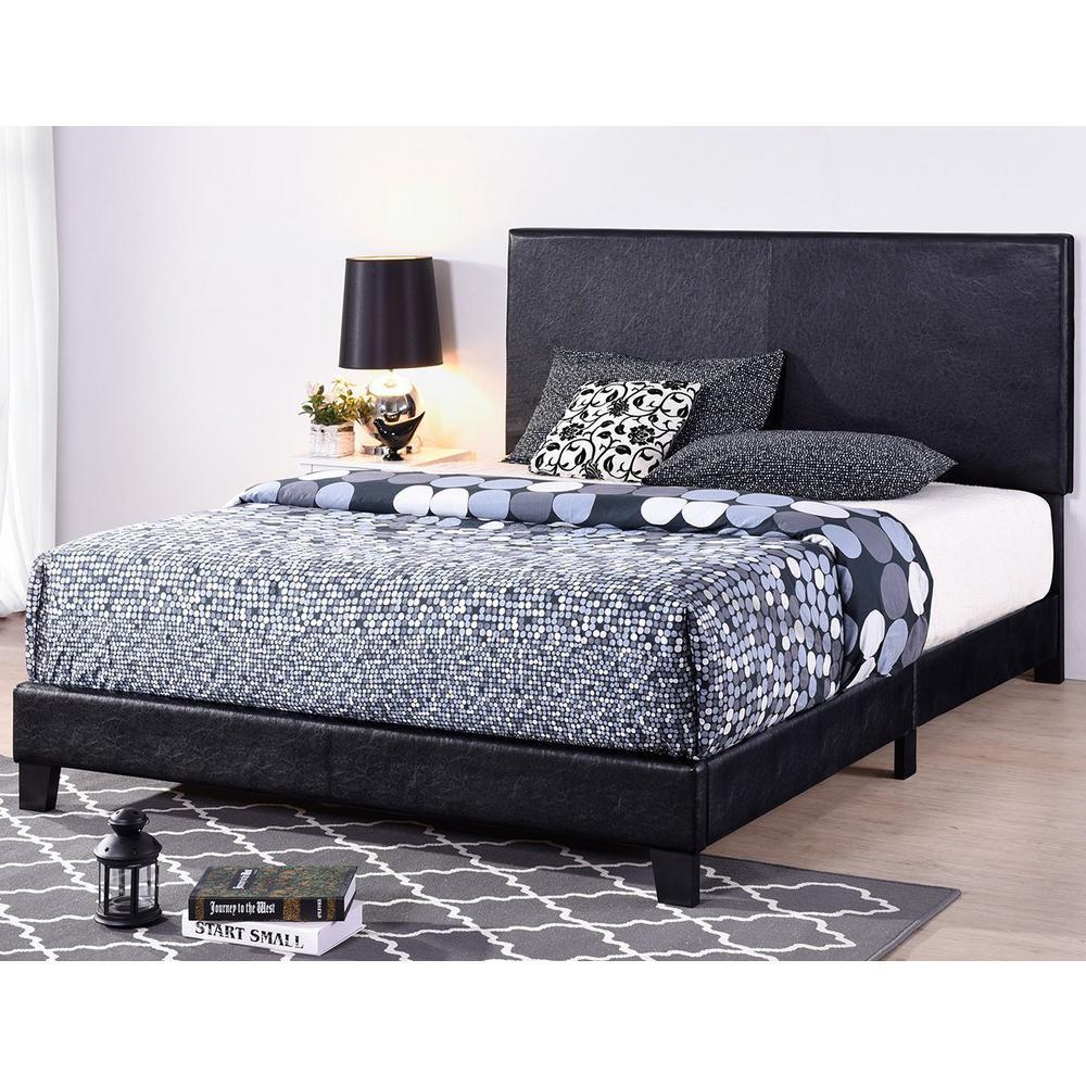 Black Full Size Faux Leather Upholstered Platform Bed