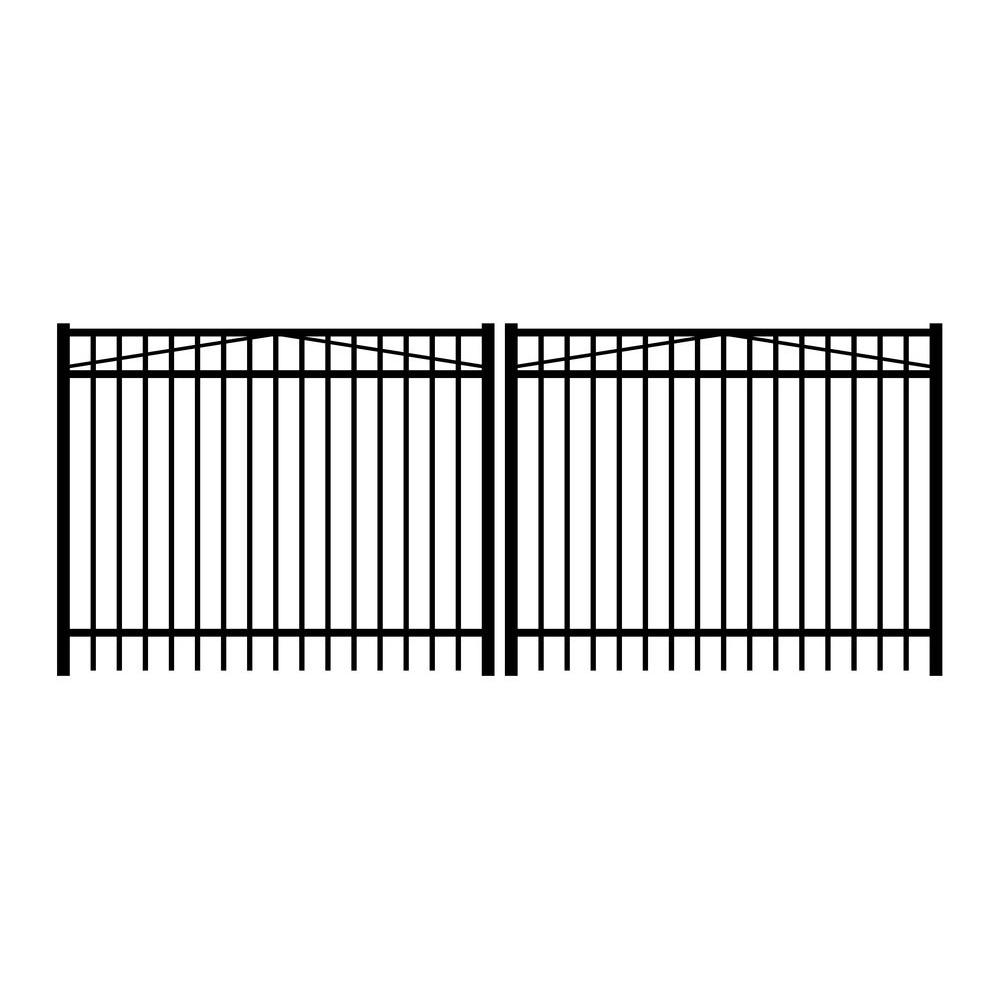 Jefferson 12 ft. W x 5 ft. H Black Aluminum 3-Rail